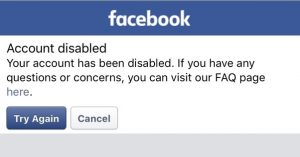 Facebook page disabled